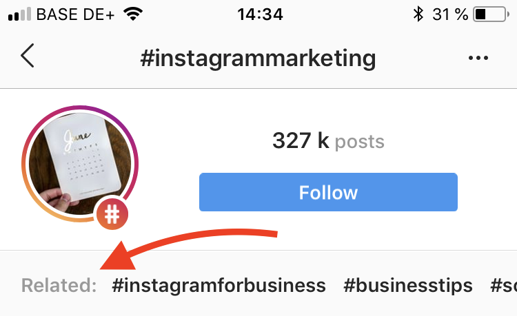 Find related hashtags on Instagram