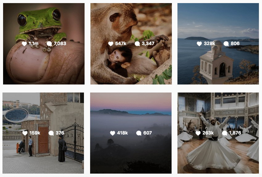 Best performing posts on Instagram from National Geographis