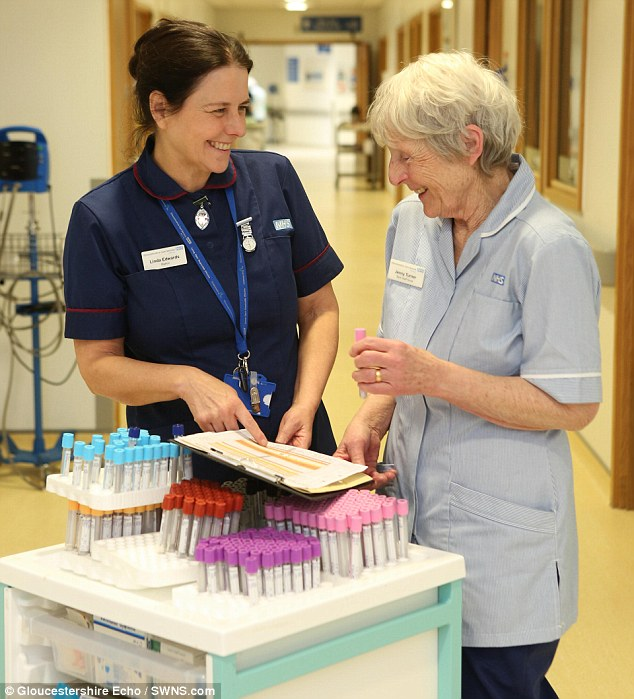 Still going: Despite having worked for almost as long as the NHS has existed, Mrs Turner has no plans for retirement, and hopes to keep nursing for another 10 years. Pictured with matron Linda Edwards