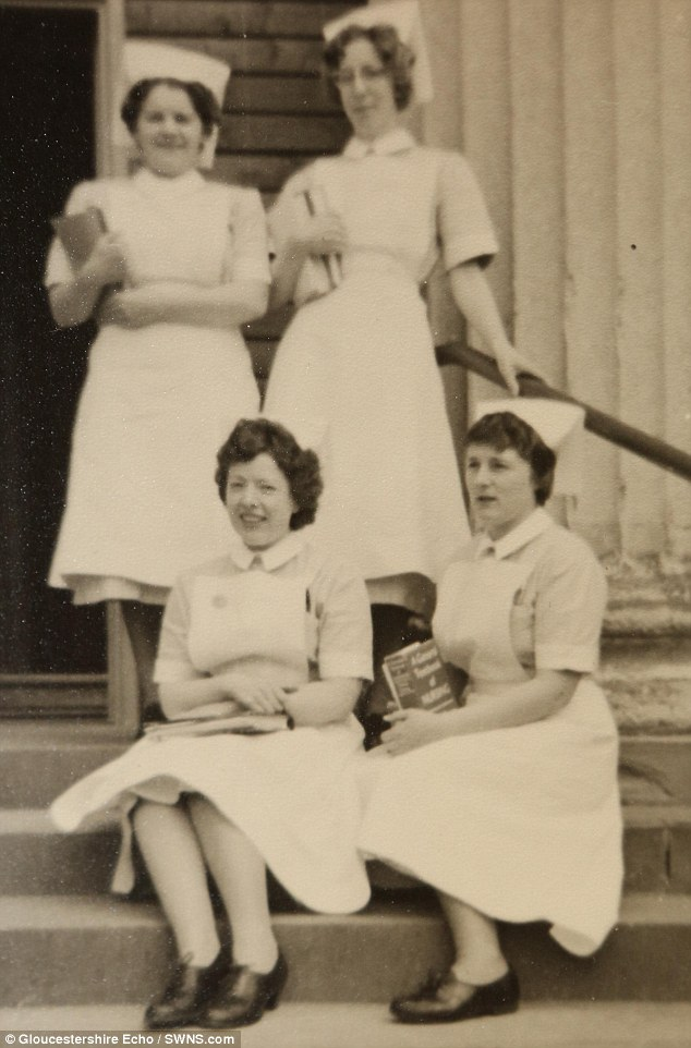 Changes: When Mrs Turner (bottom right) first began nursing, in 1956, young women were paid just £7 a month and lived in shared dormitories where they weren