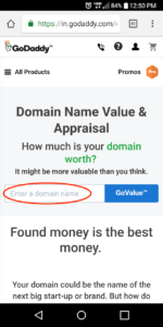 Domain Value GoDaddy Valuation Tool