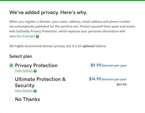 How To Buy A Domain Privacy Checkout